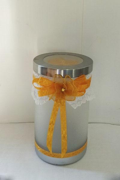 Кремация животных -Серая урна для праха животного с оранжевой лентой