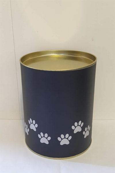 Металлическая синяя с золотой крышкой урна для праха животного для хранения дома